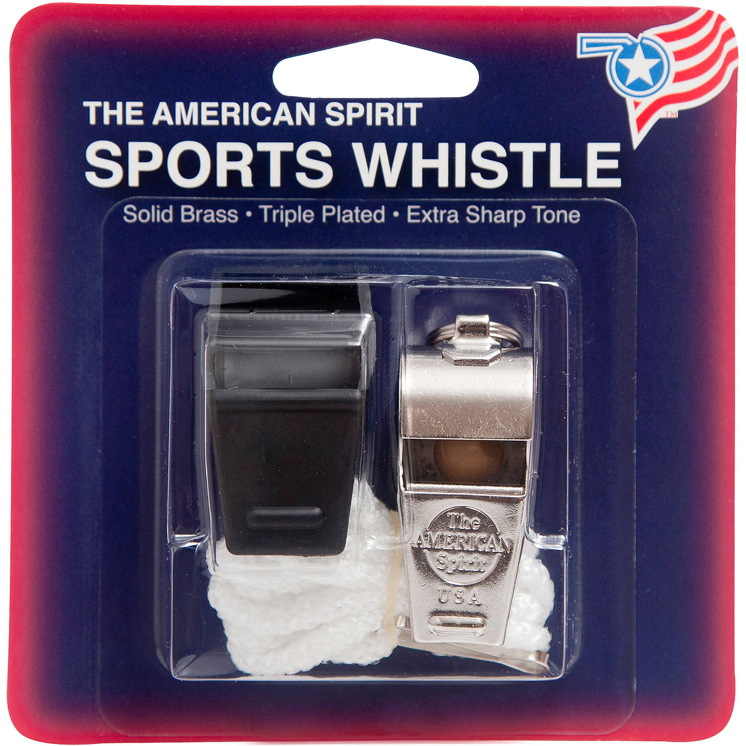 American Spirit Solid Brass Sports Whistle and Lanyard