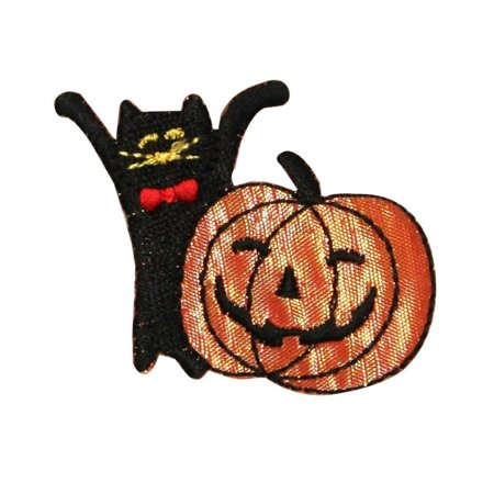 ID 0817 Happy Cat And Jack O Lantern Patch Halloween Embroidered IronOn - Jack Happy Halloween