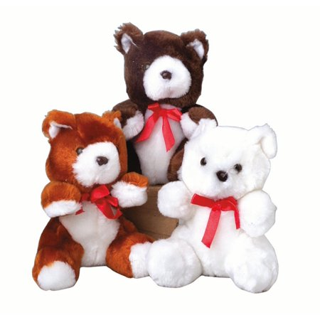 Silky Ribbon Teddy Bear Valentines Day 6 in Plush Animal, White