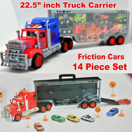Big Rig Truck Carrier Construction Cars Toy Set Monster Dump Tractor Excavator Troque Camion ()