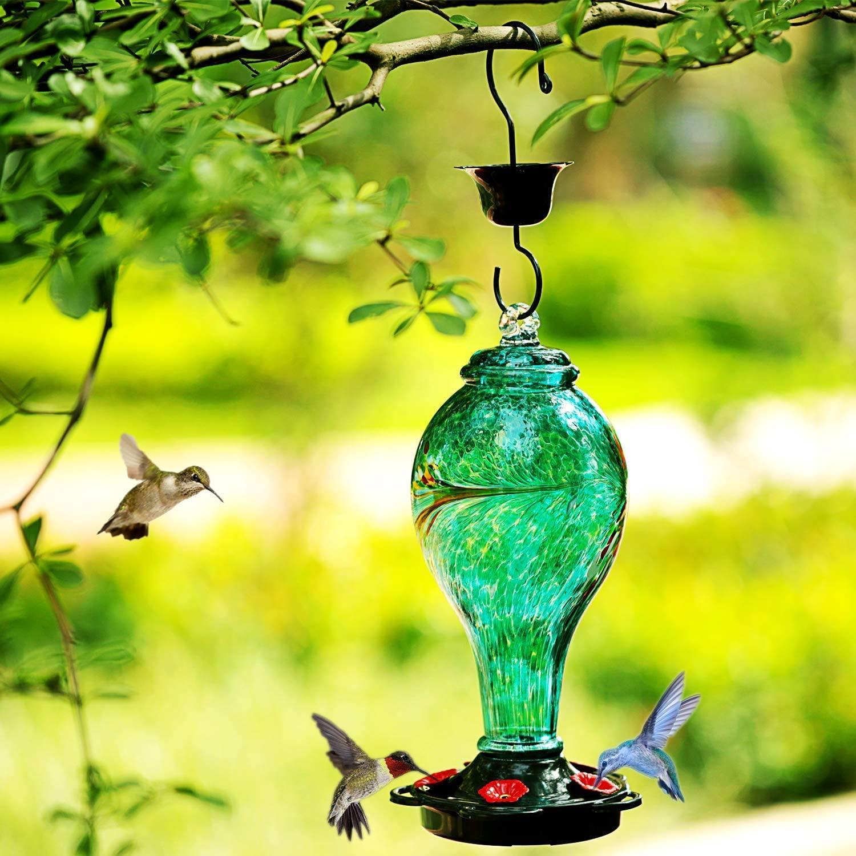 LUJII Hummingbird Feeder Hand Blown Glass Hummingbird Feeder 36 Fl Never Fade
