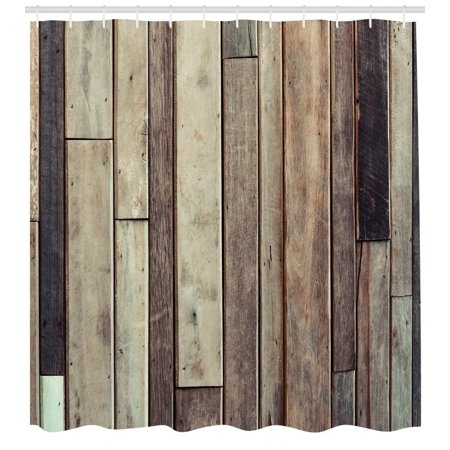 Wooden Shower Curtain, Antique Planks Flooring Wall Picture American Style Western Rustic Panel Graphic Print, Fabric Bathroom Set with Hooks, Brown, by Ambesonne for $<!---->