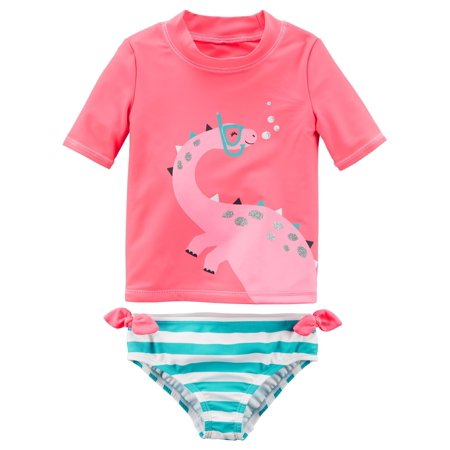 Carter's Baby Girls' 2-Piece Dinosaur Rashguard Bathing Suit Set- 3 Month - Dinosaur Suit Rental