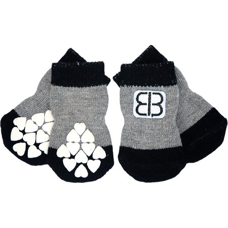Petego Traction Control Indoor Socks For Dogs 4/Pkg-X-Large Black/Gray - image 1 of 1