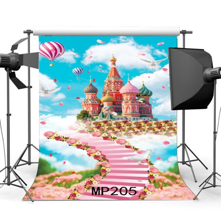 MOHome Polyster 5x7ft Fairytale Backdrop Castle Fresh Flower Stairs To Heaven Dove Blue Sky White Cloud