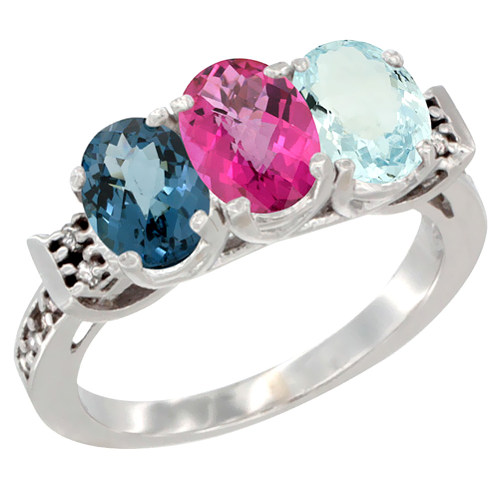 14K White Gold Natural London Blue Topaz, Pink Topaz & Aquamarine Ring 3-Stone 7x5 mm Oval Diamond Accent, sizes 5 10 by WorldJewels