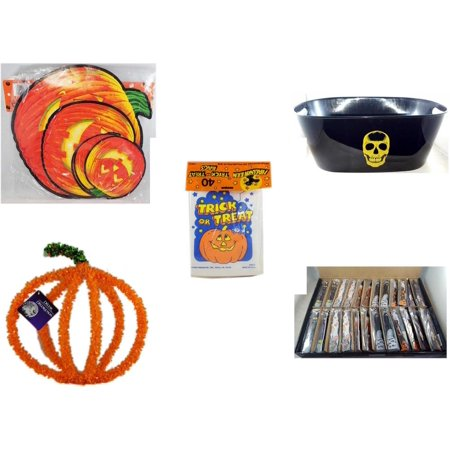 Halloween Fun Gift Bundle [5 Piece] - Classic Pumpkin Cutouts Set of 9 - Black With Skeleton Oval Party Tub -  Trick or Treat Bags 40/ct -  Pumpkin Plastic on Wire Decoration - Large Box  Wooden Cra