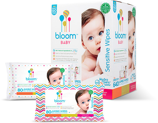 bloom Baby Wipes, Sensitive, Unscented, 8 packs of 80 (640 count) by bloom BABY