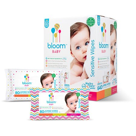 bloom Baby Wipes, Sensitive, Unscented, 8 packs of 80 (640 count) 80 Ct Baby Wipes