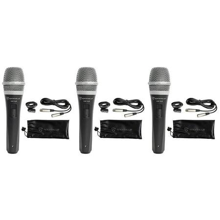 Pro Co Ameriquad Microphone Cable - 3 Rockville RMP-XLR Dynamic Cardiod Pro Microphones + 10' XLR Cables+3 Clips