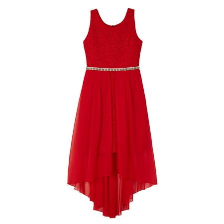 Ripple Glitter Knit Long Dress with Sheer Overlay (Big Girls)