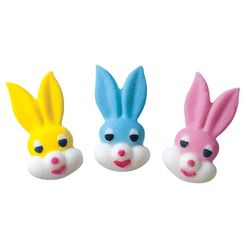 Small Bunny Head Assortment Sugar Decorations Toppers Cupcake Cake Cookies Easter Favors Party 12 Count