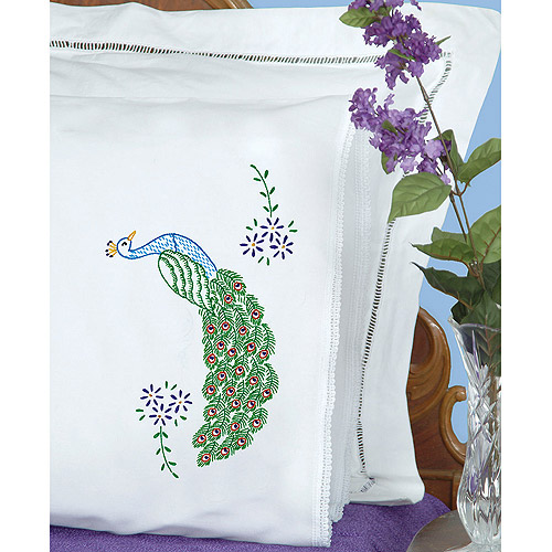Stamped Pillowcases With White Lace Edge, 2pk, Peacock