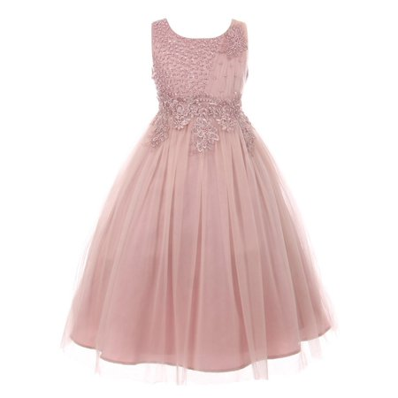 Little Girls Dusty Rose Pearl Bead Coiled Lace Satin Tulle Flower Girl Dress - Flower Girl Dress On Sale