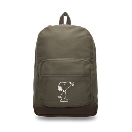 Snoopy Raz Canvas Teardrop Backpack with Leather Bottom