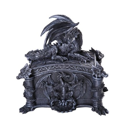 Ebros Medieval Ferocious Dragon Lidded Trinket Jewelry Box Decorative Keepsake Box Rectangular 6.25 Inch (Dragon Keepsake)
