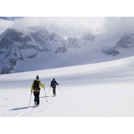 Two skiers ski touring across the Ottemma glacier Switzerland Canvas Art - Penny Kendall Design Pics (17 x 13)