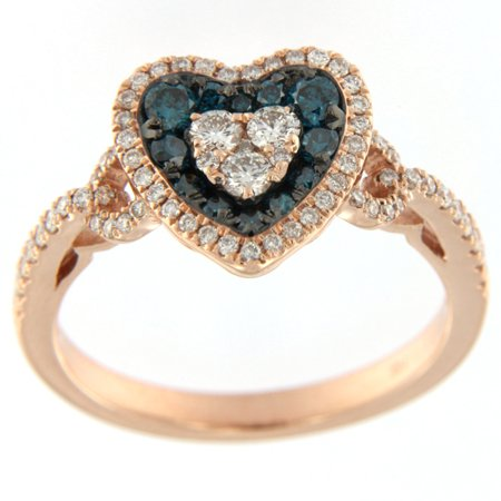 Prism Jewel 0.71 Carat Round Brilliant Cut Blue Diamond & Side Diamond Heart Shaped Valentine Ring Crafted in 10k Rose (Round Brilliant With Pear Shaped Side Stones)
