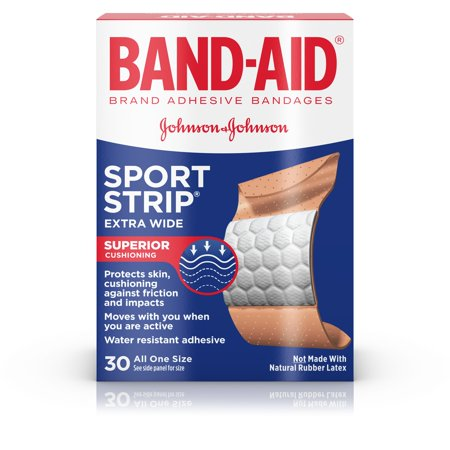 (2 pack) Band-Aid Brand Sport Strip Extra Wide Adhesive Bandages, 30 ct