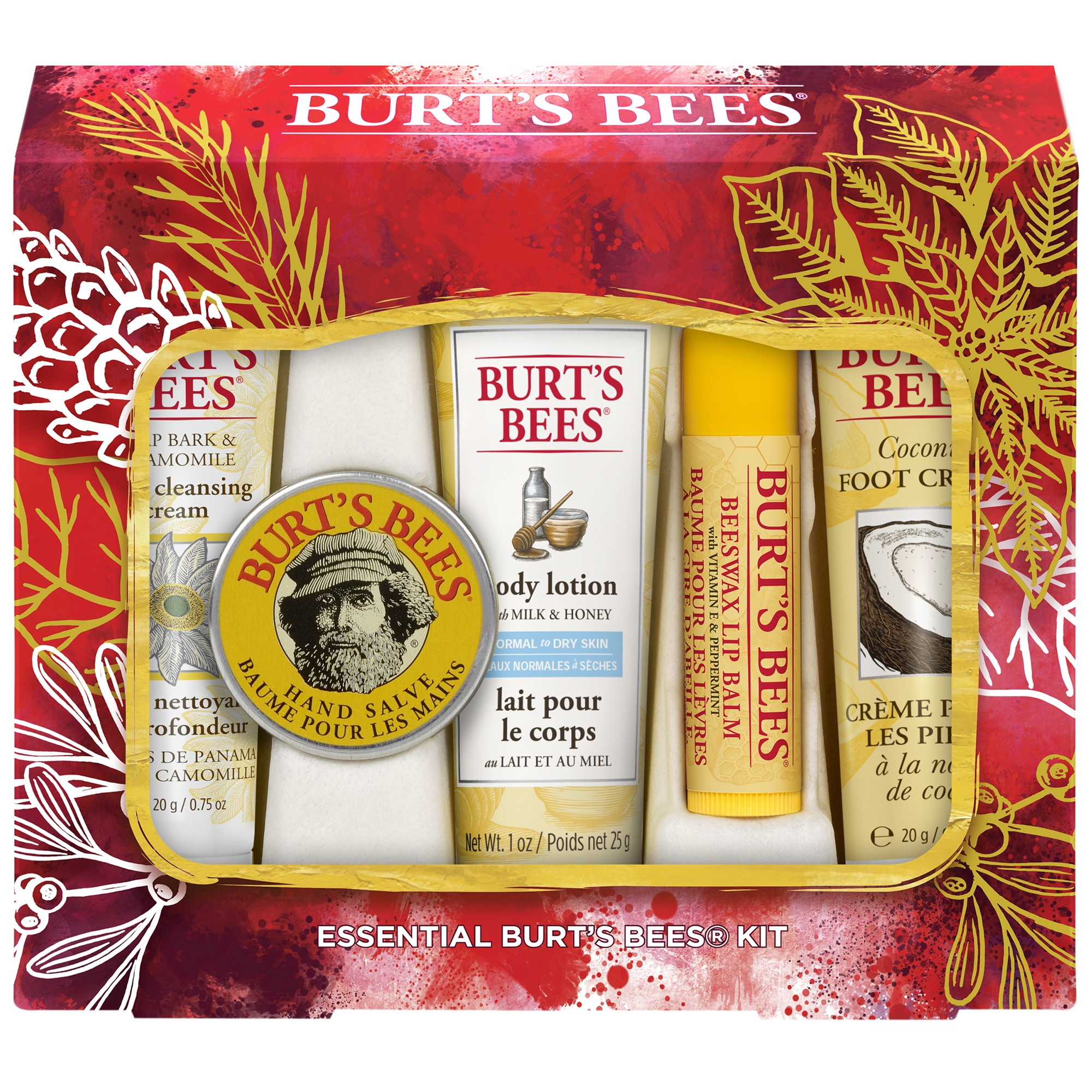 Burt's Bees® Essential Everyday Holiday Gift Set, 5 Travel Size Products - Deep Cleansing Cream, Hand Salve, Body Lotion, Foot Cream and Lip Balm