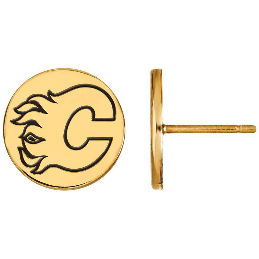 LogoArt NHL Calgary Flames 14kt Gold-Plated Sterling Silver Small Enamel Disc Earrings