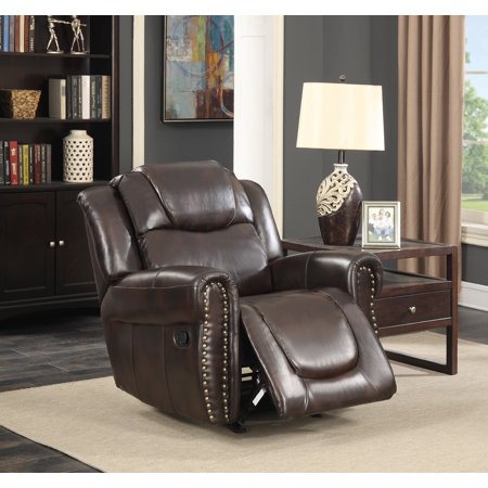 Savannah Dark Brown Bonded Leather Living Room Reclining And Rocking Chair