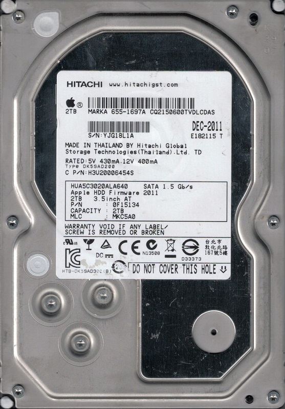 Hitachi HUA5C3020ALA640 P N: 0F15134 MLC: MKC5A0 MAC 2TB MAC 655-1697A by Hitachi