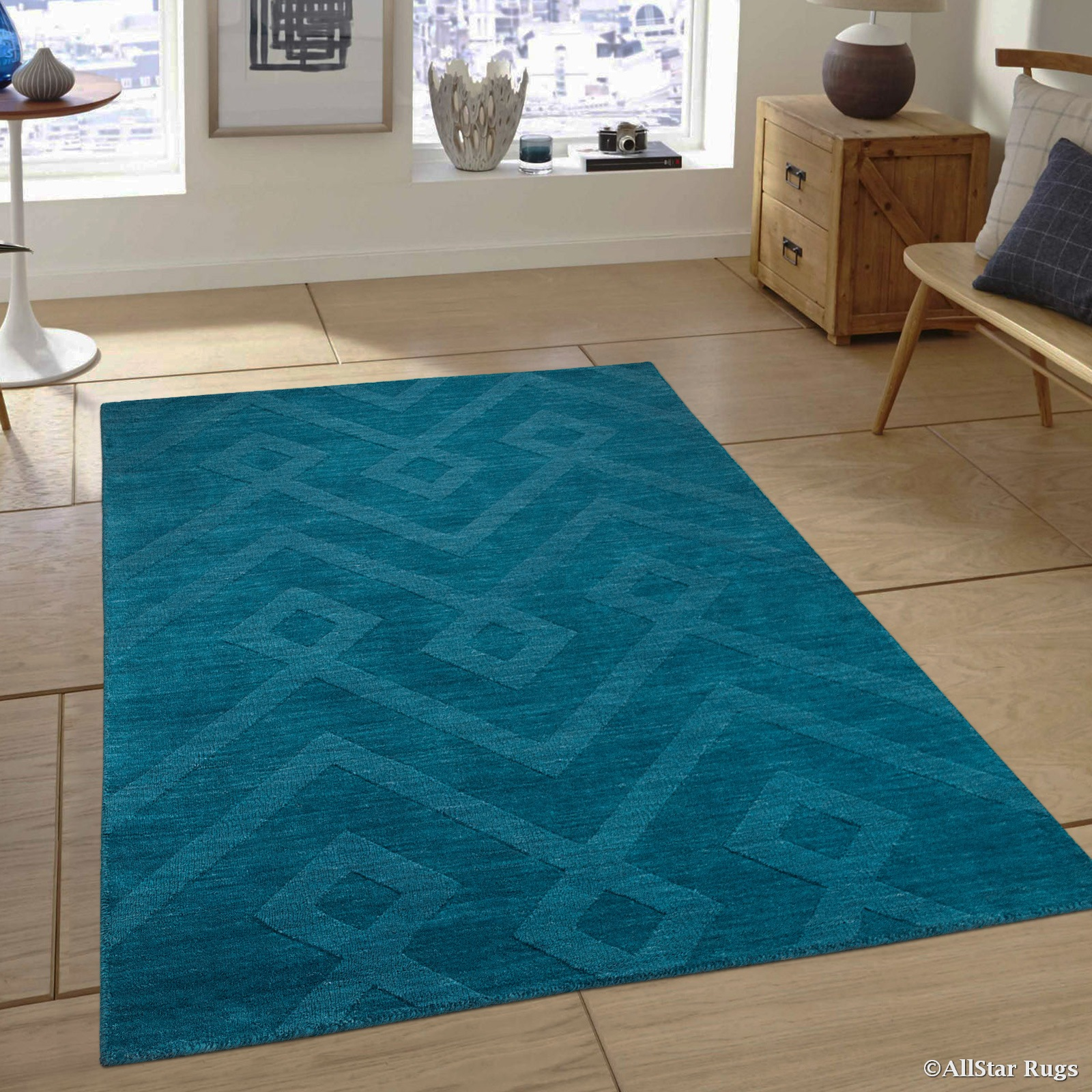 "Allstar Teal Area Rug. Hand Made High-End Extra Soft Natural Wool with Hand Craving Designs (7' 11"" x 9' 11"")"