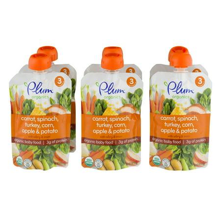 (6 Pack) Plum Organics Stage 3 Carrot, Spinach, Turkey, Corn, Apple & Potato Organic Baby Food 4 oz. Pouch