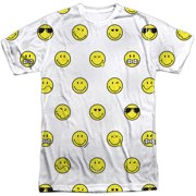 Smiley Men's  Smiley Pattern  Sublimation T-shirt White