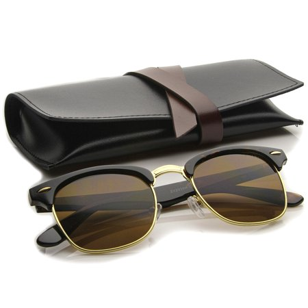 zeroUV - Premium Half Frame Horn Rimmed Sunglasses with Metal Rivets - 50mm ()