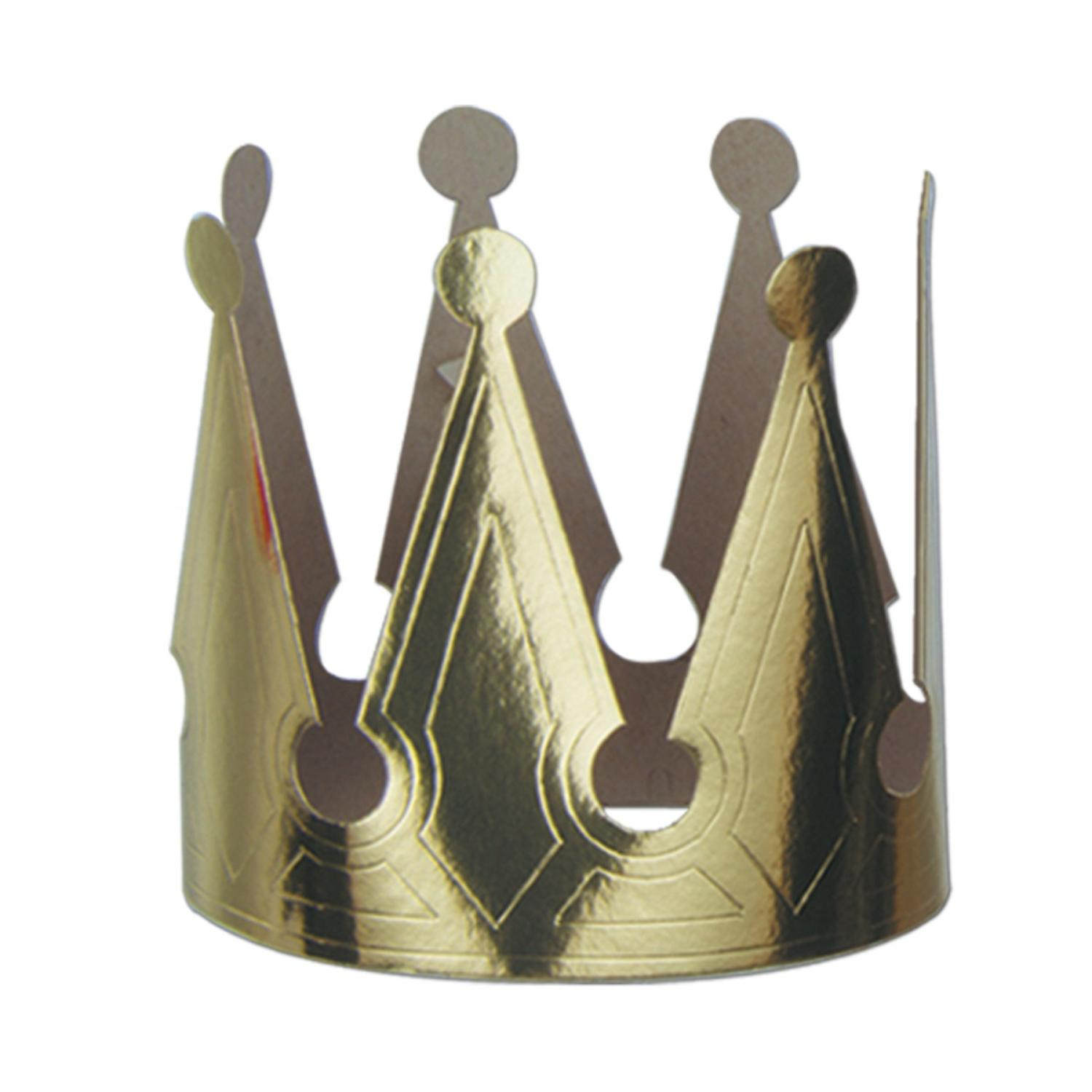 Club Pack of 72 Gold Foil King Party Crowns with Elastic Decorations 6.5""