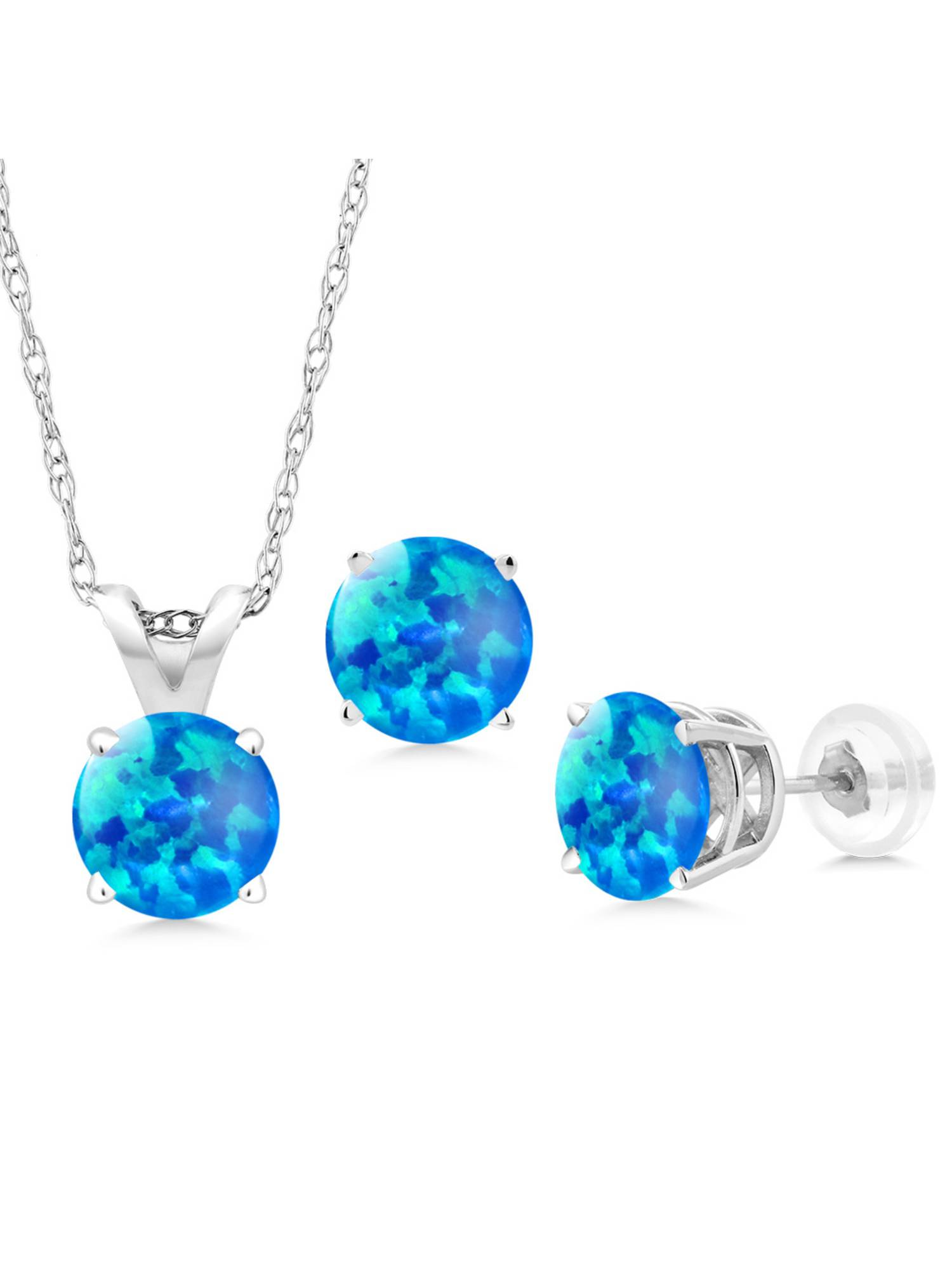1.50 Ct Cabochon Simulated Opal 14K White Gold Pendant Earrings Set With Chain by