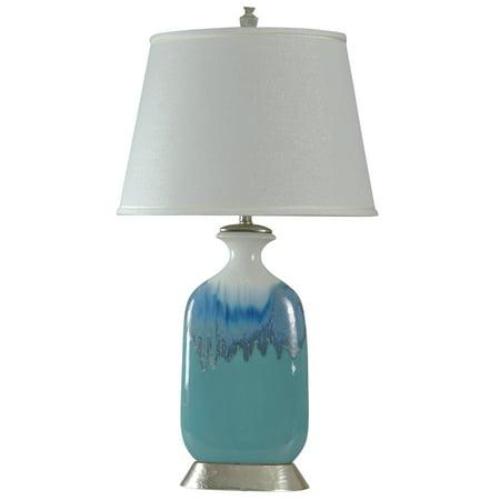 Beach Grove Ceramic Table Lamp - Blue Glaze Finish - White Hardback Fabric Shade