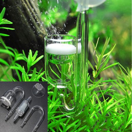 Spiral Glass Aquarium Tank CO2 Diffuser / Bubble Counter with Suction