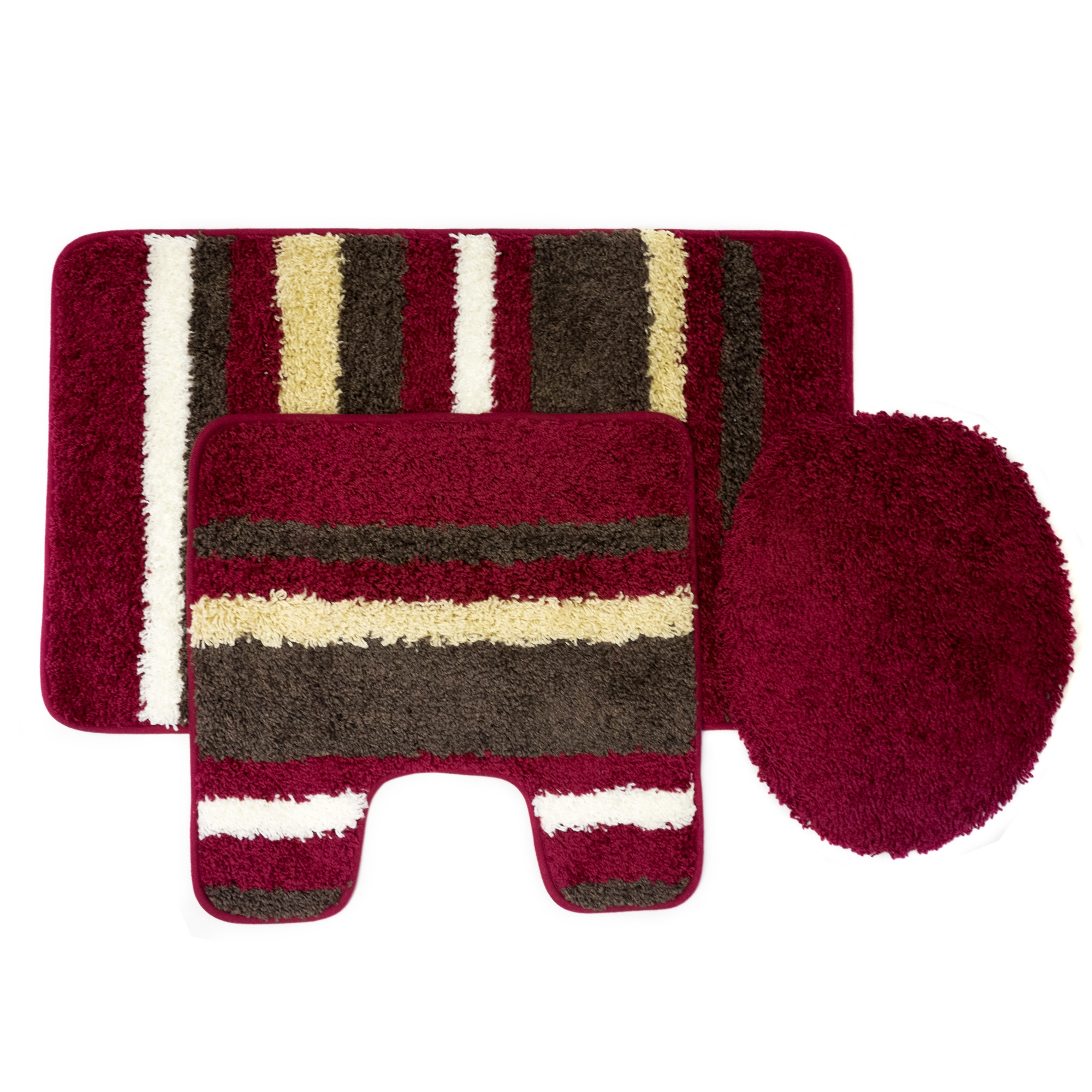 Cyprus 3 Piece Striped Bathroom Rug Mat Set Rug, Contour & Lid Cover by Popular Bath Products