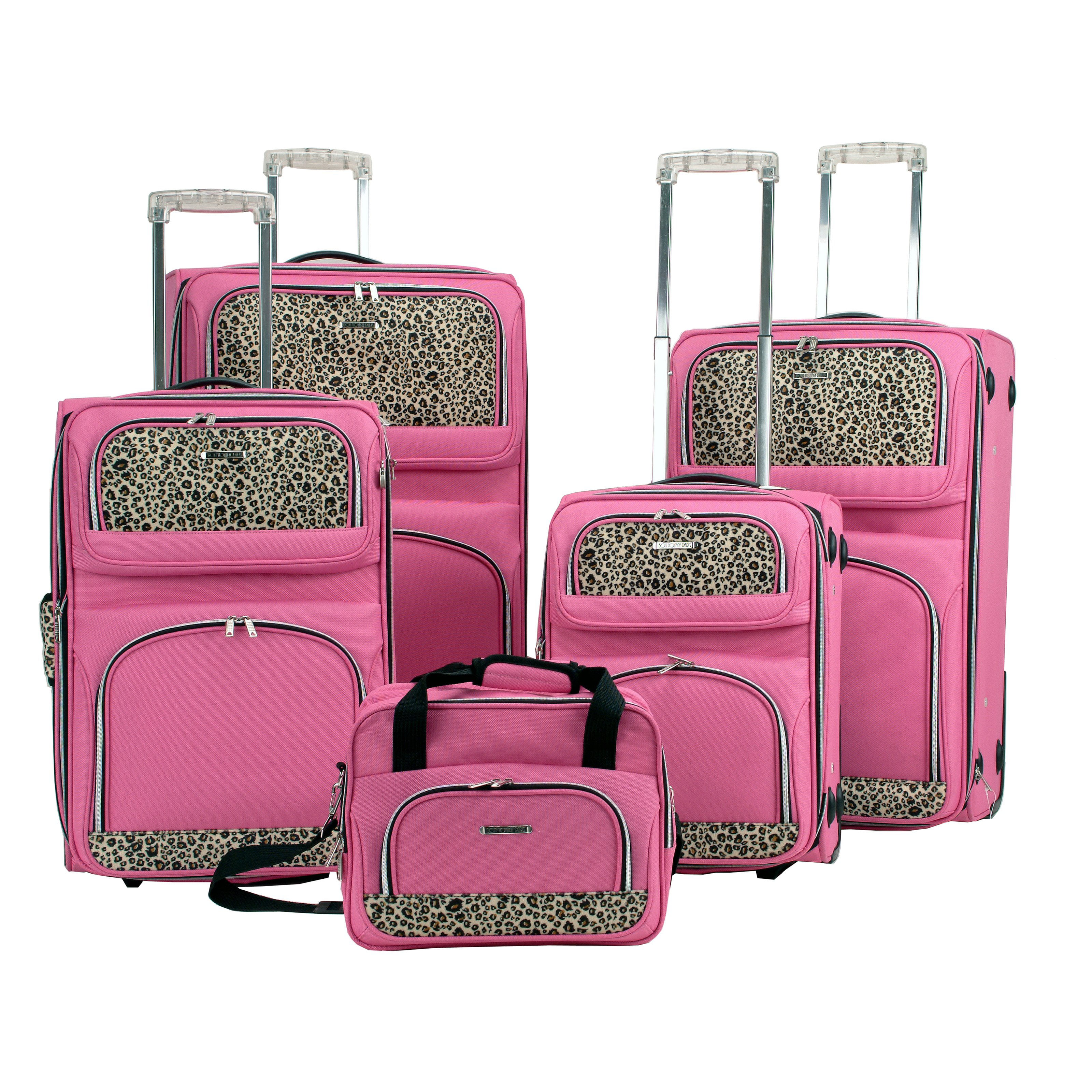 Rockland 5-Piece Pink Leopard Luggage Set - Walmart.com