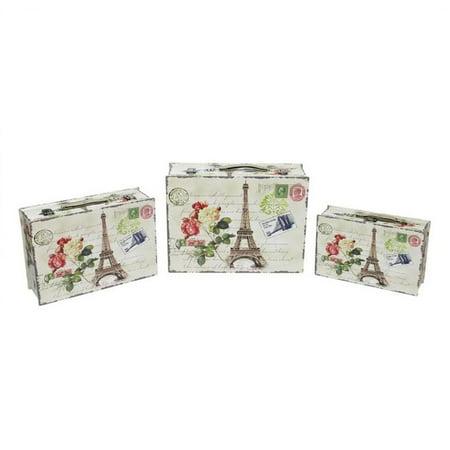 "Set of 3 Eiffel Tower, Paris and Flowers Vintage-Style Decorative Wooden Storage Boxes 16"""
