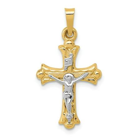 14k Two Tone White & Yellow Gold Polished INRI Crucifix Cross Pendant