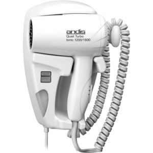 Andis Quiet Hang-Up 1600 Wall-Mounted Hair Dryer, 30975, White