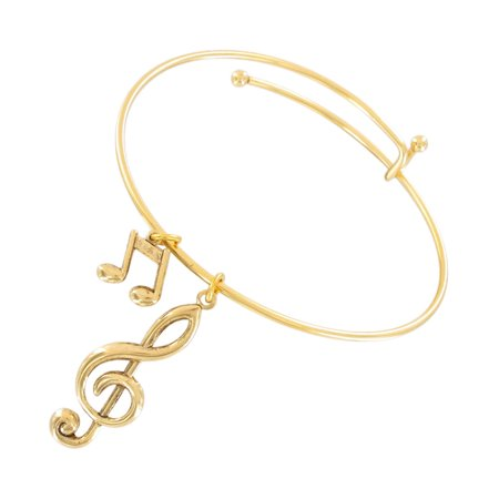Gold Tone Music Notes G Clef Treble Charm Bangle - Gold Bracelet Charms