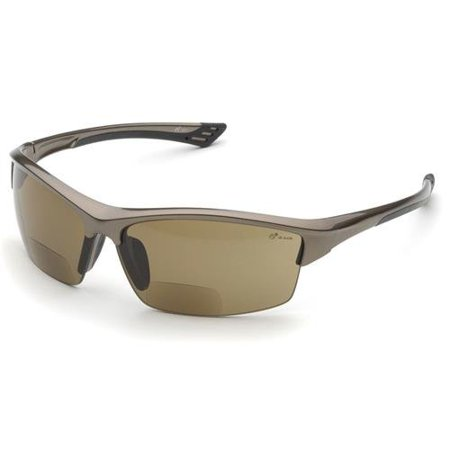Elvex RX-350BR Sonoma Brown Polycarbonate BiFocal Safety / Fashion Glasses with +2.0 Diopters, Brown Frame - image 1 de 1