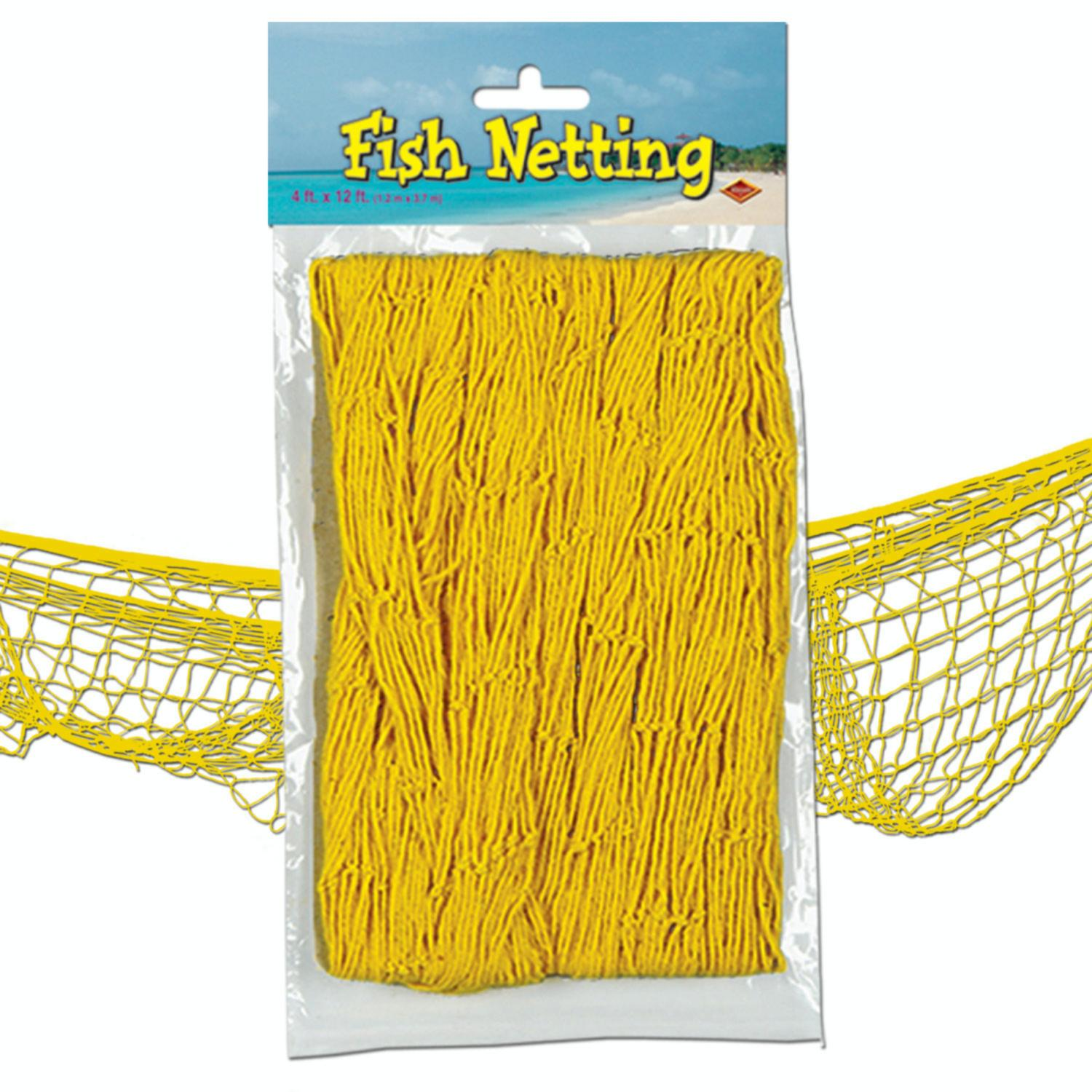 Pack of 12 Under the Sea Tropical Yellow Fish Netting Hanging Party Decor 12'