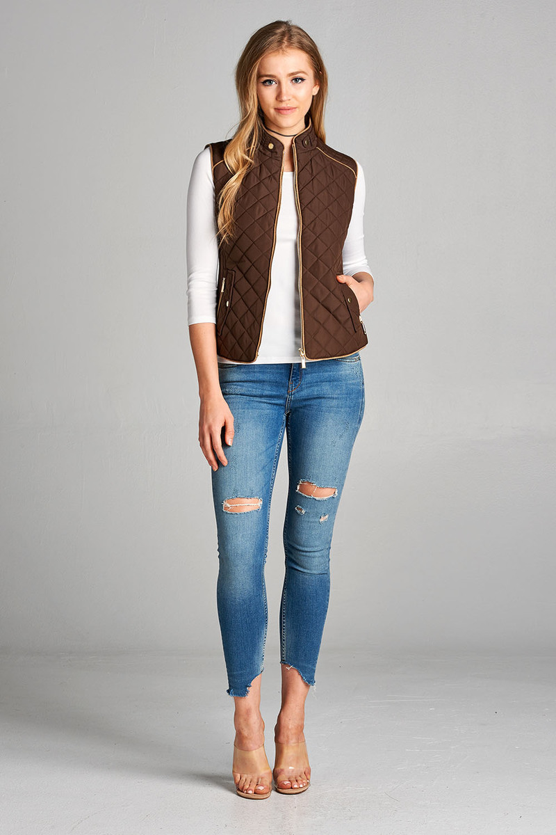 Junior & Women Sleeveless Lightweight Zip Up Quilted Padding Vest Jacket