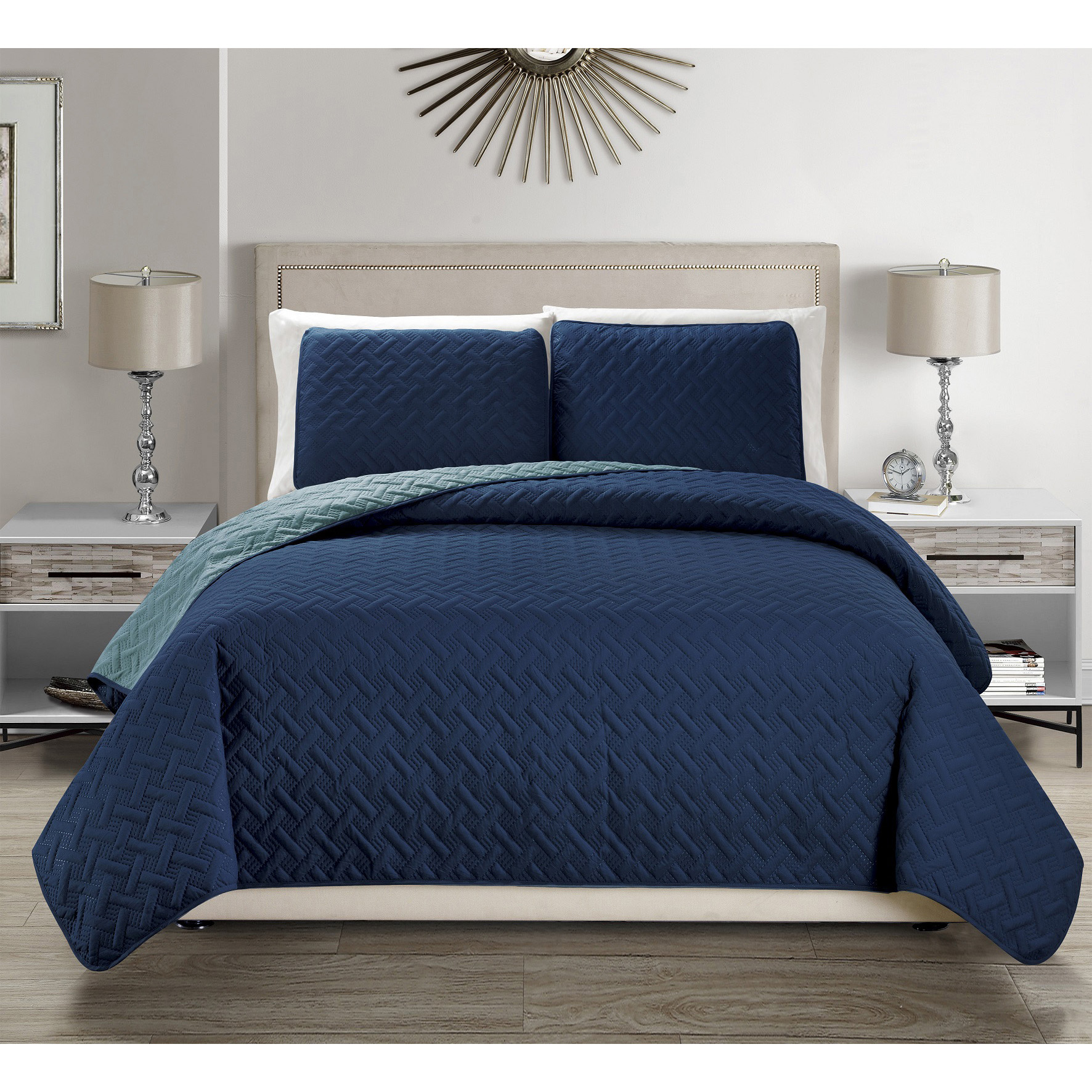Fashion Street Simplicity 3pc Quilted Bedspread Set, Charcoal/Gray Queen