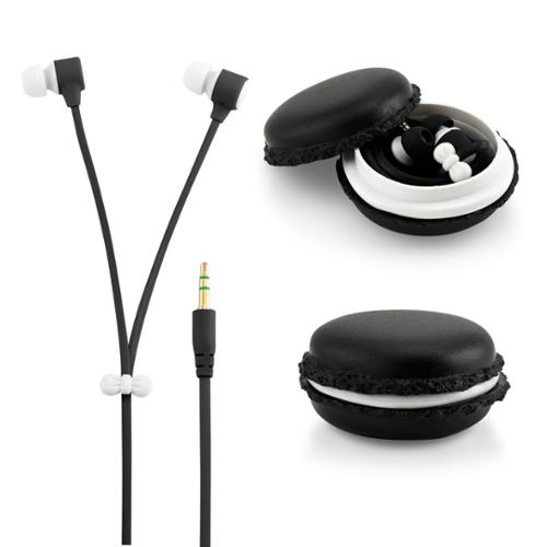 Stereo 3.5mm In Ear Earphones Earbuds Headset with Macaron Case For iPhone Samsung MP3 iPod PC Music - Black