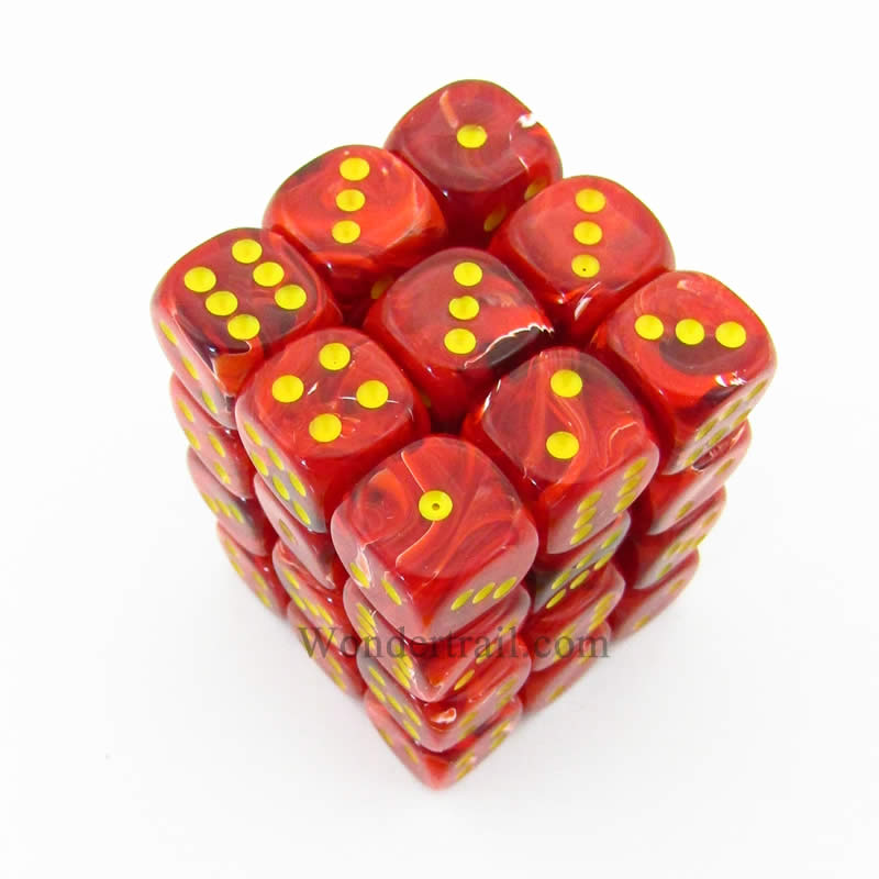 Red Vortex Dice with Yellow Pips D6 12mm (1/2in) Pack of 36 Chessex