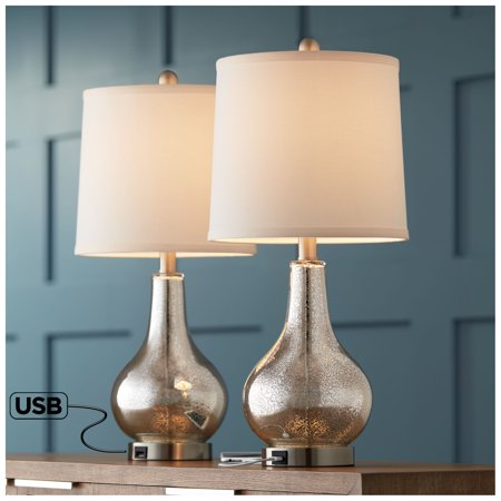 360 Lighting Ledger Modern Accent Table Lamps Set of 2 with USB Charging Port Mercury Glass for Living Room Family Nightstand (End Table Lamp Sets)