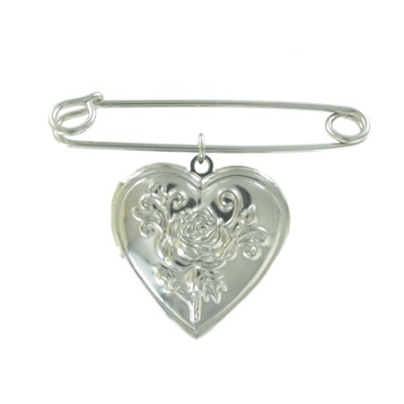 "Safety Pin Brooch 2"" Silver Tone Rose Heart Locket Charm Dangle Middle"