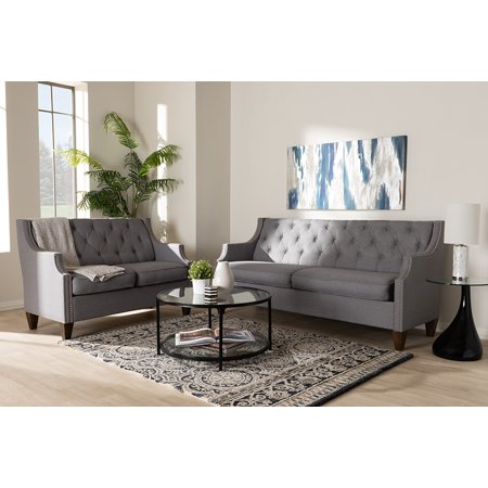 Baxton Studio Celine Modern and Contemporary Gray Fabric Upholstered Button-Tufted 2-Piece Living Room Set Contemporary Living Room Set